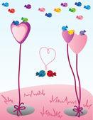 Valentine birds — Stock Vector