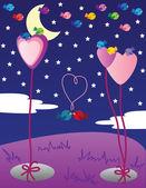 Valentine birds at night — Stock Vector