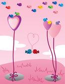 Sweet Valentine birds — Stock Vector