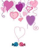Valentine birds with hearts — Stock Vector