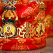Wedding crown with depiction of Saint Nicholas and Jesus Christ (fragment, — Stock Photo