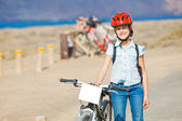 Girl on bikes — Stock Photo