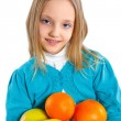 Royalty-Free Stock Photo: Cute little girl with fruits