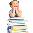 Education - funny girl with books. — Stock Photo