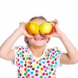Portrait of happy girl with apple — Stock Photo #10642321