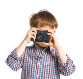 Happy boy with camera — Stock Photo