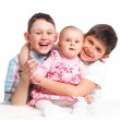 Close-up of happy children in studio — Stock Photo