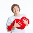 Boy with red heart — Stock Photo
