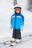 Junior skier in the ski school. — Stock Photo