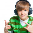 Portrait of a male teenager listening to music — Stock Photo #8891121
