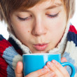 Young frozen teenager in winter style — Stock Photo