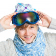 Portrait of a caucasian teenager in ski wearing — Stock Photo