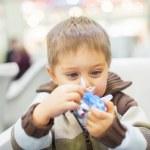 Little Boy Toy Airplane — Stock Photo