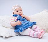 Little girl in blue. — Stock Photo