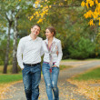 Stock Photo: Romantic young beautiful couple on autumn walk