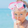 A cute little boy wearing a mask for diving — Stock Photo
