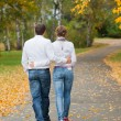 Romantic young beautiful couple on autumn walk — Stock Photo #9103556
