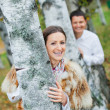 Romantic young beautiful couple on autumn walk — Stock Photo #9104758