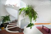Escada em espiral branco — Foto Stock