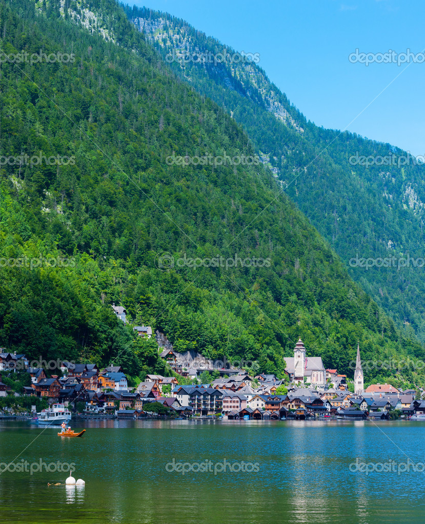 Beautiful summer Alpine Hallstatt Town and lake Hallstatter. See view (Austria)  Stock Photo #9112123