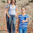Family hiking in the cross-country — Stock Photo #9151474