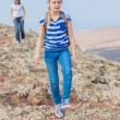 Family hiking in the cross-country — Stock Photo #9151548