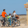 Постер, плакат: Family having a excursion on their bikes