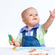 Little boy drawing with crayons — Stock Photo