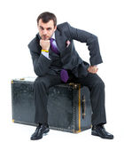 Business man with big old suitcase — Stock Photo