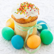 Easter cake and colorful eggs - Photo