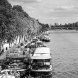 Stock Photo: Living barge on the Seine in Paris.
