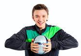 Boy with soccer ball — Stockfoto