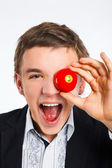 Teenage boy playing billard ball — Stock Photo