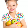 Portrait of happy girl with apple — Stock Photo #9761319