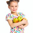 Portrait of happy girl with apple — Stock Photo #9761391