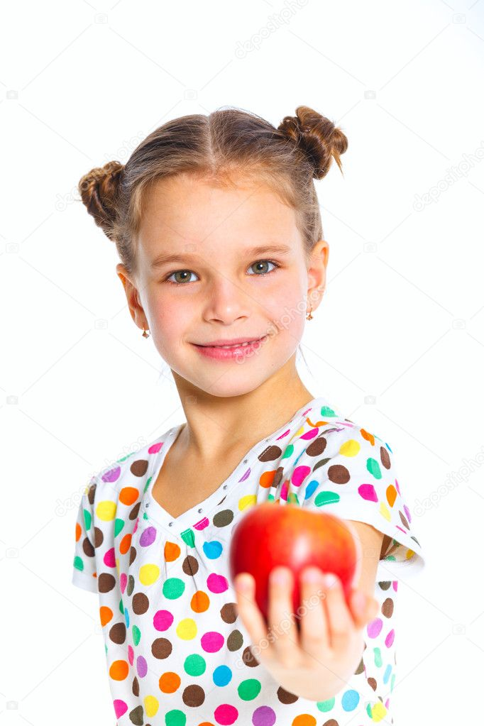 Portrait of happy girl with apple isolated on white background — Stock Photo #9777722