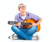 Boy with classical Spanish guitar — Stock Photo
