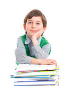 Education - funny boy with books. — Stock Photo