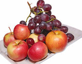 Red grapes and red apples — Stock Photo