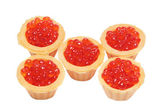 Delicious and fresh red caviar in tartlets — Stock Photo