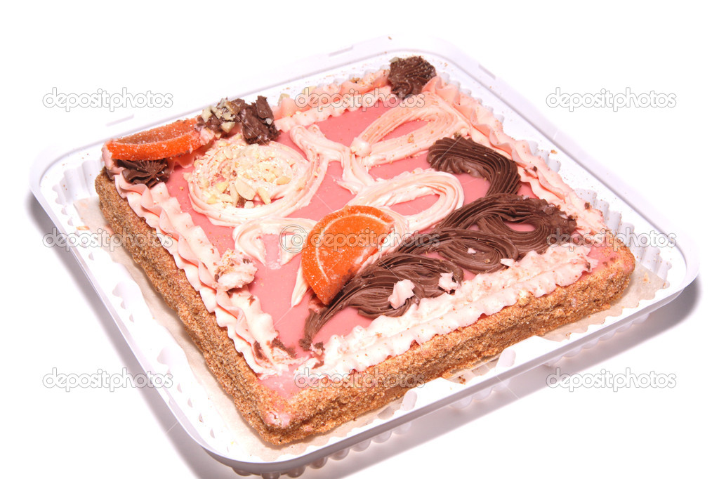 Sand cake with pink icing, nuts, candied fruit and cream — Stock Photo #8986346