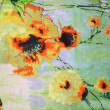 Stock Photo: The orange flowers drawn by a watercolor