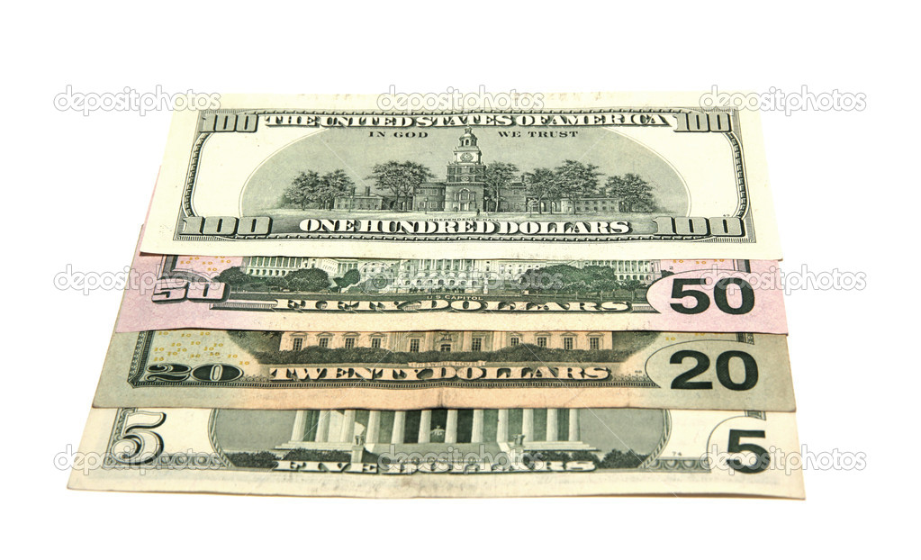 Miscellaneous denominations of dollars on white background — Stock Photo #9247651