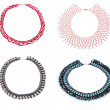 Four beautiful necklaces from beads — Stock Photo