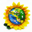 Souvenir in manner of sunflower on white background — Stock Photo #8231476