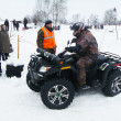 Car races on winter jeep-sprint — Stock Photo
