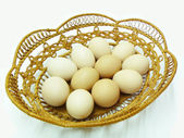 Chicken egg in braided guard;keep — Foto Stock