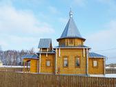 Wooden chapel in village YUdiha Kovrovskogo region — Stock Photo