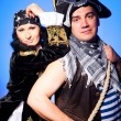 Two pirates on blue — Stock Photo