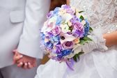 Blue and purple wedding bouqet — Stock Photo